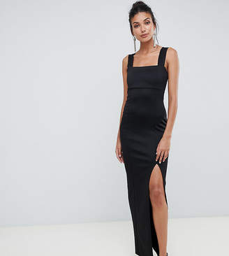 Asos Tall DESIGN Tall Square Neck Maxi Dress with Thigh Split