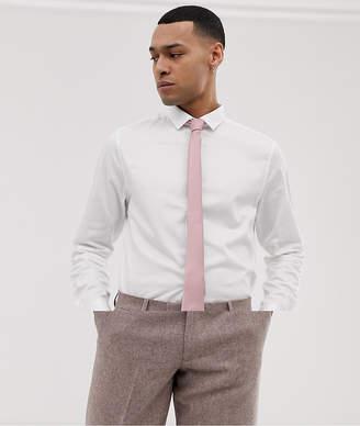 ac3b08426dff Asos Design DESIGN Wedding slim fit sateen shirt with pink tie save