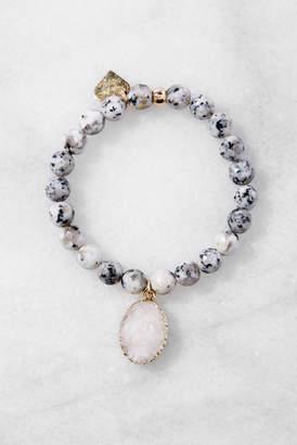 Love Poppy Beaded Bracelet With Druzy Drop
