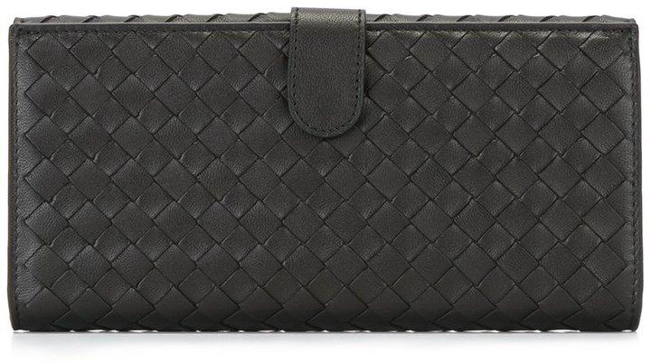 Bottega VenetaBottega Veneta woven effect flat wallet