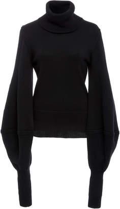 Oscar de la Renta Balloon Sleeve Rib-Knit Virgin Wool Sweater