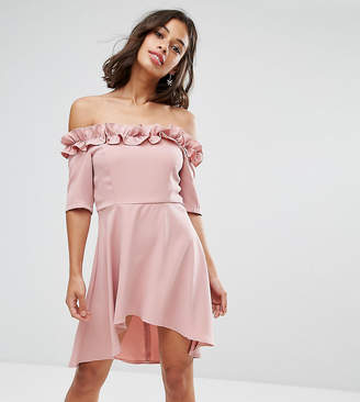 Paper Dolls Petite Bardot Frill High Low Hem Skater Dress
