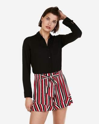 Express High Waisted Stripe Ruffle Hem Shorts