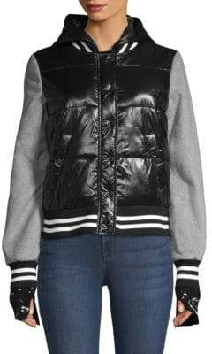 Generation Love Max Varsity Wool-Sleeve Bomber Jacket