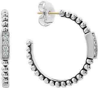 4a9baf353 Lagos Sterling Silver Caviar Spark Diamond Hoop Earrings