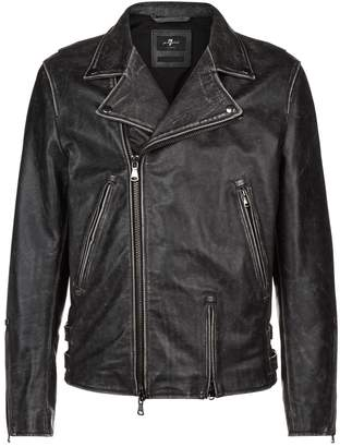 7 For All Mankind Washed-Look Leather Jacket
