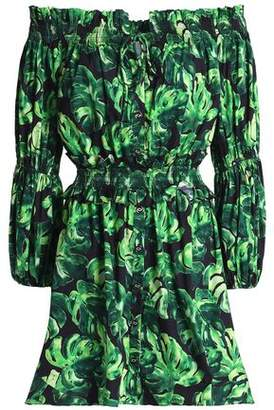 Caroline Constas Off-The-Shoulder Shirred Printed Cotton-Poplin Mini Dress