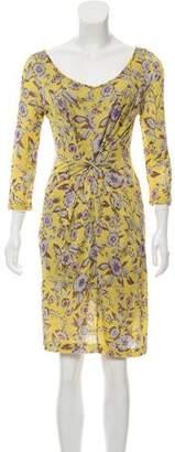 Etro Floral Print Three-Quarter Sleeve Knee-Length Dress