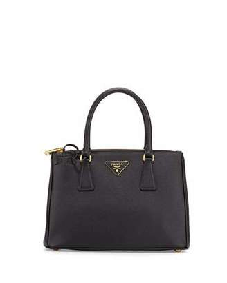 Prada Saffiano Small Lux Double-Zip Tote Bag, Black (Nero) $2,230 thestylecure.com