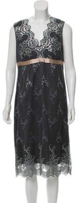 Anna Sui Lace Sleeveless Midi Dress Silver Lace Sleeveless Midi Dress
