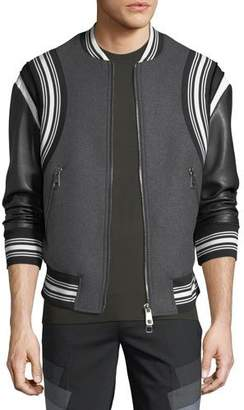 Neil Barrett Wool Varsity Bomber Jacket w/ Faux-Leather Sleeves
