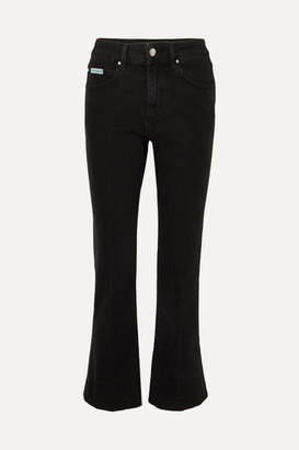 ALEXACHUNG Cropped High-rise Flared Jeans - Black