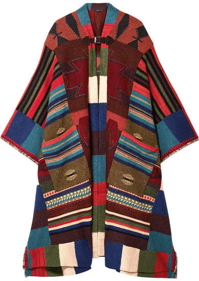 Etro - Fringed Leather-trimmed Wool-blend Cape - Red