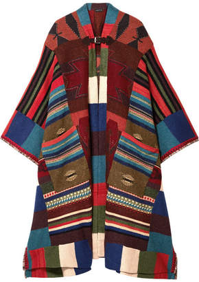Etro Fringed Leather-trimmed Wool-blend Cape - Red