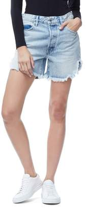 Good American The Bombshell High Waist Cutoff Petal Hem Denim Shorts