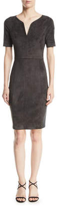 Elie Tahari Emily Suede Sheath Dress