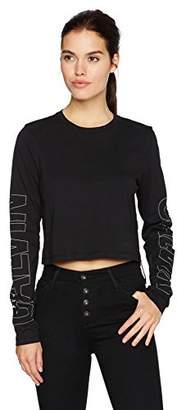 Calvin Klein Jeans Women's Long Sleeve Cropped Calvin Logo Tee Shirt