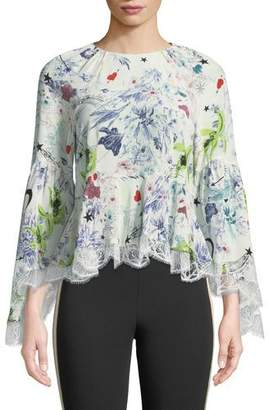 Cinq à Sept Avalon Floral-Print Silk Top w/ Lace