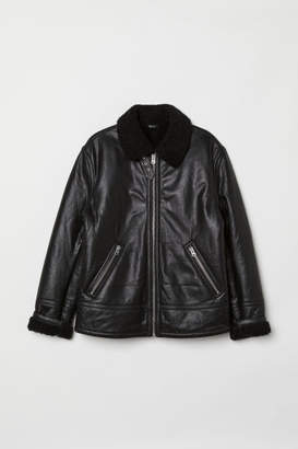 H&M Pile-lined Leather Jacket - Black