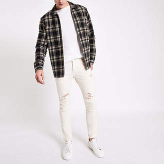River Island White skinny fit taped ripped jeans