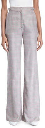 Gabriela Hearst Vesta High-Waist Flared-Leg Plaid Cashmere Suiting Pants