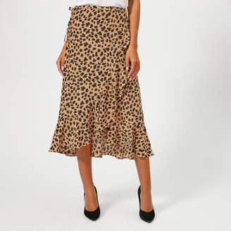RIXO London Women's Gracie Midi Skirt Spot Leopard