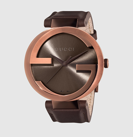 Gucci interlocking extra large brown PVD and leather watch