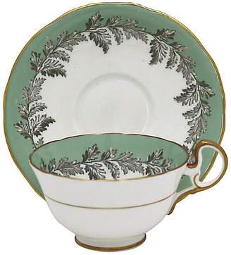 One Kings Lane Vintage Aynsley Oak Leaf Tea Cups - Rose Victoria