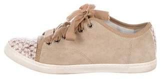 Lanvin Suede Cap-Toe Low-Top Sneakers