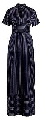 Rosie Assoulin Women's Pinstripe Belted Maxi Dress