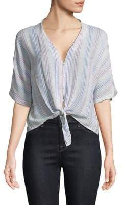 Rails Thea Stripe Tie-Front Shirt