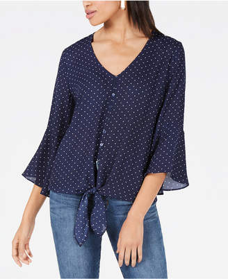 BCX Juniors' Printed Bell-Sleeved Top