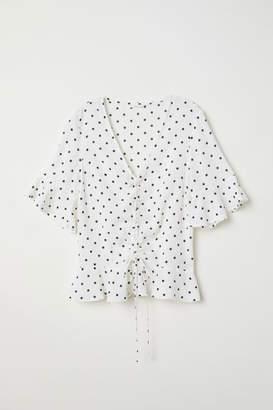 H&M Drawstring Blouse - White