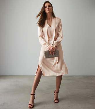 Reiss Our last order date for Christmas has now passed RAY SATIN LONG LINE SHIRT DRESS Neutral