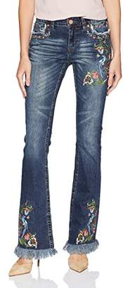 Grace in LA Women's Easy Fit Boho Embroidered Bootcut Jeans