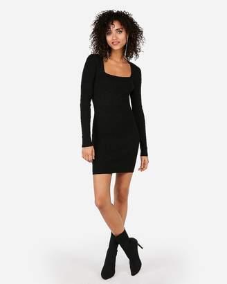 Express Metallic Square Neck Long Sleeve Bodycon Dress