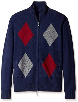 Thirty Five Kent Men's Diamond Pattern Cashmere Full Zip Sweater