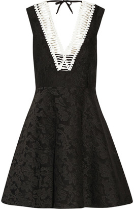 Sandro Rhythm pleated embroidered mesh mini dress $530 thestylecure.com