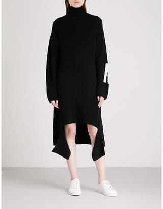 Mo&Co. Asymmetric distressed knitted midi dress