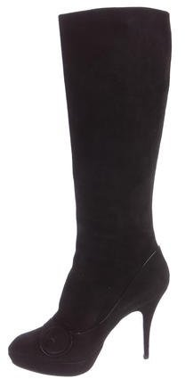 Louis Vuitton Suede Button-Accented Knee-High Boots