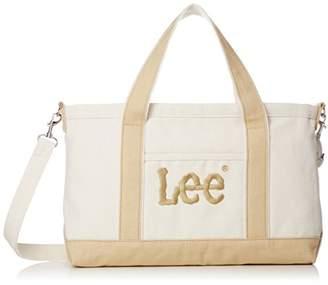 Lee (リー) - [リー] トートバッグ 2WAY ショルダー 厚手コットンキャンバス(帆布) Leeビッグロゴ刺繍 ホワイトボディ×オーク