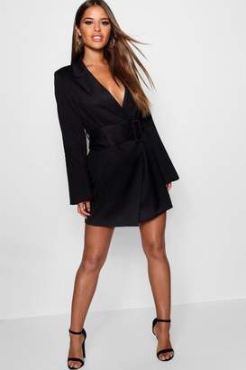 boohoo Petite Belted Asymmetric Blazer Dress