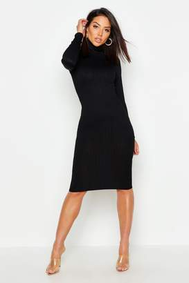 baae01c191 boohoo Jumbo Rib Roll Neck Midi Dress