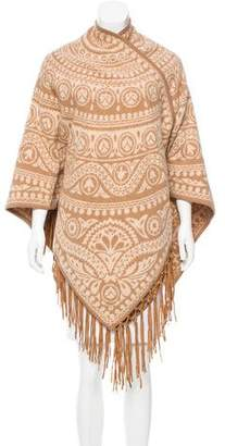 Calypso Fringe-Trimmed Patterned Cape