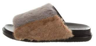 Marni Mink Fur Slide Sandals w/ Tags