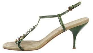 Miu Miu Embellished T-Strap Sandals
