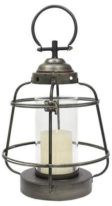 CKK Home Decor Stonebriar Industrial Metal Hurricane Candle Lantern, Small