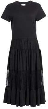 RED Valentino Pleated Lace Tulle A-Line Midi Dress