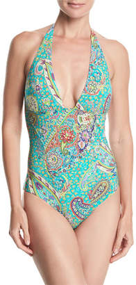 Etro Printed Plunging One-Piece Halter Swimsuit
