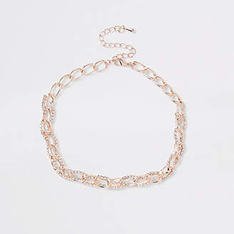 River Island Womens Rose Gold diamante chain link choker